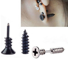 1 pcs Simple punk fashion gold black and silver plated stainess nail screw stud earring for women and men novelty item