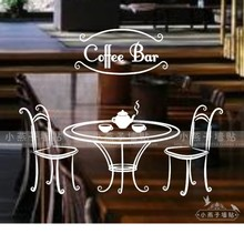 Coffee Shop Table Vinly Art Wall Sticker Coffee Seat Coffee Table Mural Art Wall Decal Coffee Tea Shop Window Glass Decoration(China)