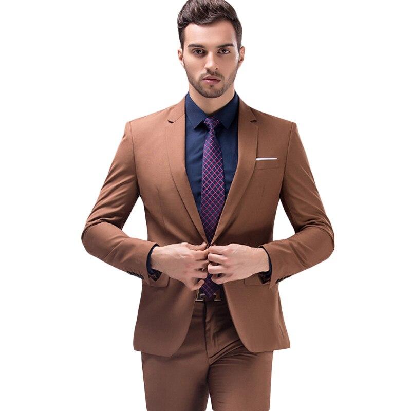 Jacket+Pants Brown Green Burgundy Black Pink Suits Men 2018 Brand Slim Fit Groom Wedding Suit Korean Fashion Party Prom Wear