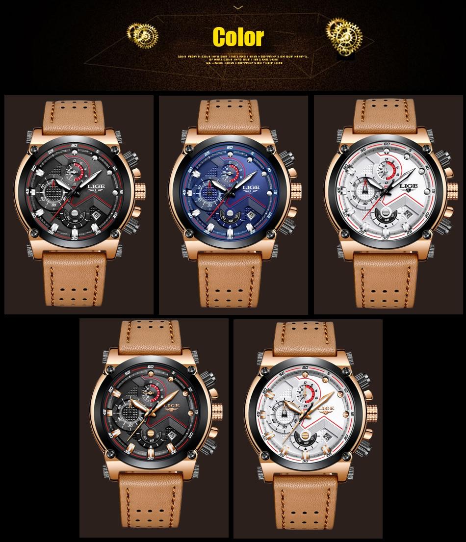 Reloje 18 LIGE Men Watch Male Leather Automatic date Quartz Watches Mens Luxury Brand Waterproof Sport Clock Relogio Masculino 12