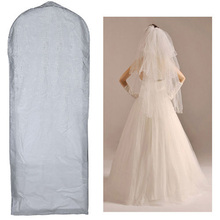 "59-61"" Waterproof Wedding Dress Bridal Gown Garment Cover Storage Bag Carrier Zip"