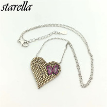 Starella 925 Sterling Silver Micro Pave CZ and Nano Turquoesa Turkey Style Heart Pendant Necklace Collar Joyeria Gift(China)