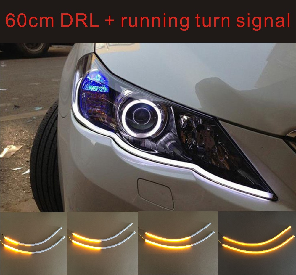 2*60CM Car LED Daytime Running Light+Running Turn Signal Flexible Light Strip White/Amber/Blue Car-Styling DRL Flowing Car Lamp <br><br>Aliexpress