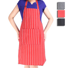 New Arrival Chef Waiter Stripe Bib Apron Kitchen Restaurant Cooking Aprons With Pockets for Men and Women Cooking Tool