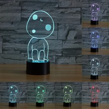 3D Visual illusion lamp 7 Colors Changing Night Light Custom made available touch sensor Acrylic kodama's tree spirits IY803957(China)