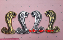 2pcs Free shippin Metal High quality 3D Snake Cobra Mustang sticker badge emblem car logo rear trunk Car styl auto accessories
