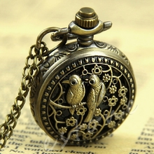 1Pc Small Bird Eagle Peacock Flower Pattern Quartz Hunger Game Pocket Watch Hour #T50P# Drop ship(China)