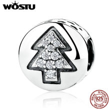 New Real 925 Sterling Silver Christmas Tree Charm Beads Fit Original wst Bracelet Pendant Authentic Luxury Jewelry Gift