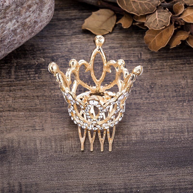 Wedding Hair Accessories Gold Color Mini Round Crystal Rhinestone Tiaras and Crowns Pageant Prom Princess Comb Tiara Crown (1)