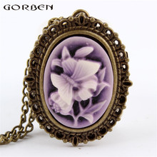 New Purple Butterfly Flower Pocket Watch Necklace Pendant Girl Lady Women Xmas Gift P63