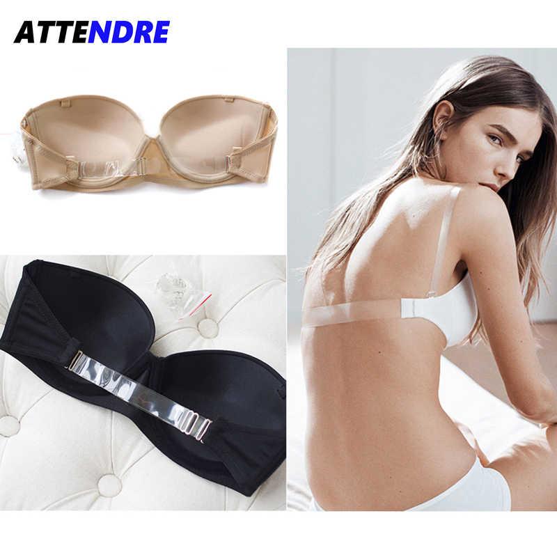 6057b4d721 ATTENDRE Women s Underwear Bra 1 2 Cup For Bride Dress Seamless Convertible  Bra Transparent Back