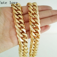 Fate love 12mm 23.6'' Pure  Gold  Stainless Steel Double Curb Link Necklace Chain  Cool Men's Strong  Jewelry