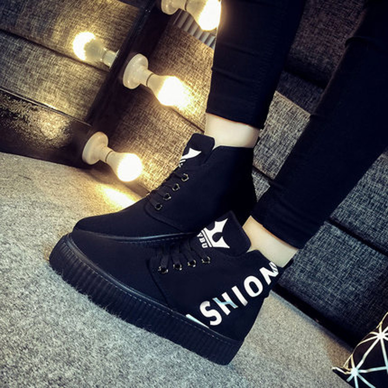 In the spring of 2017 new high help canvas shoes Korean female shoes thick soled flat skate shoes casual shoes to a student<br><br>Aliexpress