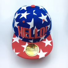 Hot Selling !!!New Hello Letters Embroidery Children Baseball Cap Baby Boys Girl Snapback Caps Star Print Hip-hop Hat