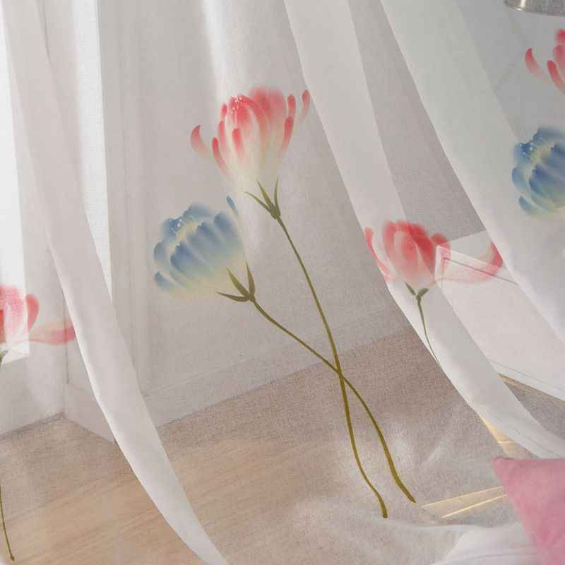 Korean Pastoral Fresh and Semi-transparent Hand-painted Dandelion Curtains For Living Room Window Screen Sheer Tulle MY033-40
