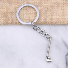 2pcs New Fashion Chrome plated Key Rings & Silver Color Metal Vintage golf club ball Key Chains Accessory