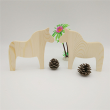 Kids Cute Natural Wooden Horse DIY Toys ornaments For Kindergarten Children Art Lesson Fashion Room Decoration Birthday Gift(China)