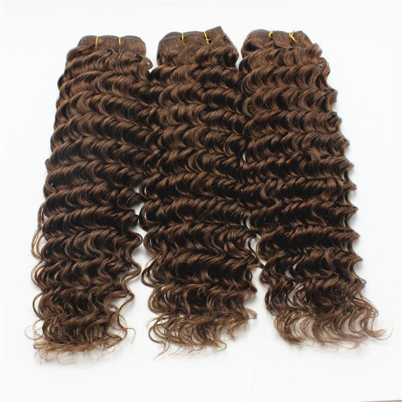 #4 Chocolate Brown Weave Bundles 3pcs/Lot Deep Wave Brazilian Human Virgin Hair 7A Grade Remy Hair Brown Weft Extension<br><br>Aliexpress