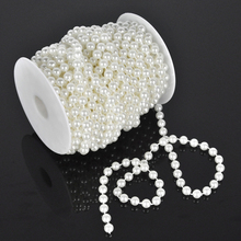 15M ABS Plastic Round Imitation Pearl string Plastic Beads roll for DIY Wedding Bridal Corsages Necklace Bracelet Decoration 8MM