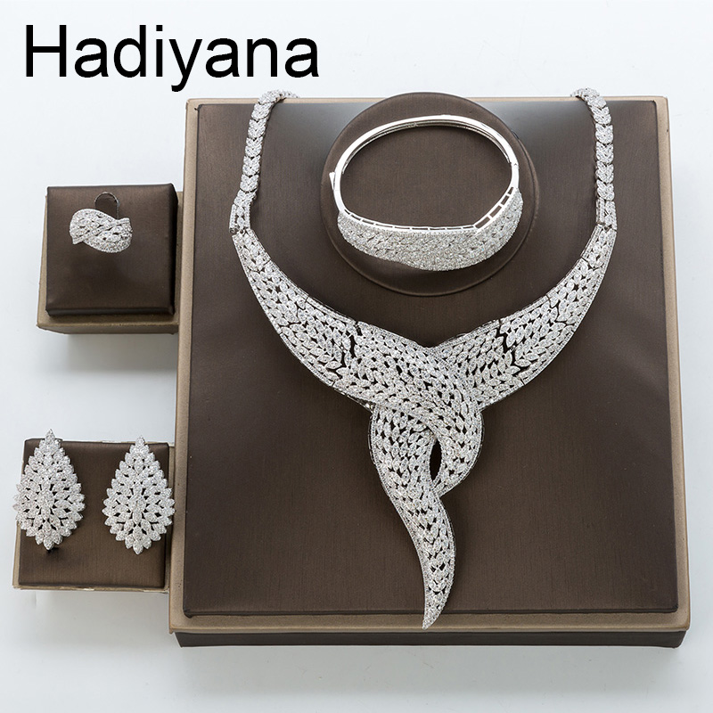 Hadiyana 2018 Personality Wedding Engagement Wedding Jewelry Set Shiny AAA Cubic Zirconia Branches Flower Sets For Women TZ8131