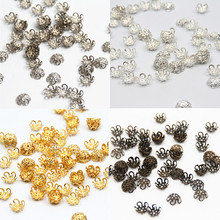 300Pcs/lot Pick 4 Colors 5Leaf Hollow Flower End Beads Caps 10mm Jewelry Findings Making DIY Jewelry Supplies(China)