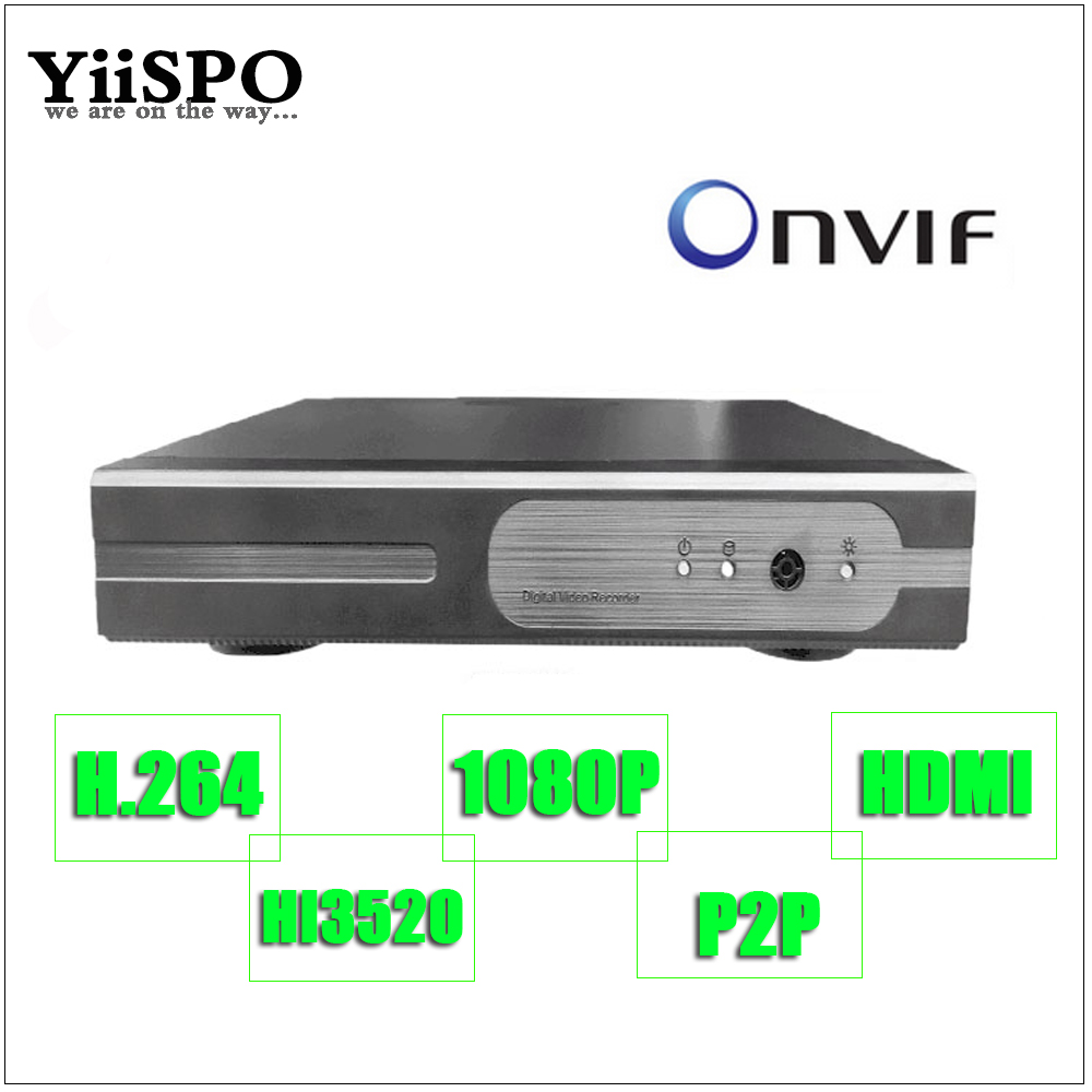 YiiSPO 4CH 6CH CCTV HD NVR ONVIF 1080P H.264 HDMI 2.0MP Surveillance System NVR P2P for 720P 960P 1080P Camera Network DVR<br>
