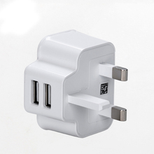 DC 5V 2A Output UK Plug Mobile Phone Charger 2 USB Ports Power Adapter Used for iPhone iPad Samsung HTC Mobile Phone Tablet PC(China)