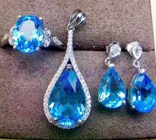 Topaz set Free shipping Natural blue topaz 925 sterling silver 1pc ring ,1pc pendant,1pair drop earring 2.5ct*3pcs ,8.5ct*1pc