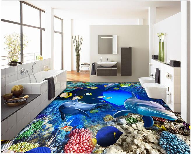 3d wallpaper custom waterproof 3d pvc flooring Underwater world cave coral self-adhesion painting photo 3d wall murals wallpaper<br>