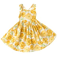 for 2Y-12Y new design summer baby girls Backless kids leaf floral print party princess dresses children clothes girl Beach dress