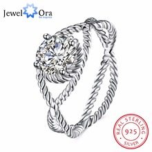 Solid 925 Sterling Silver Ring Design 9mm Stone Cubic Zirconia Jewelry Women Rings For Party (JewelOra RI102585)(China)