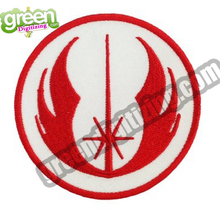"Cool Star Wars Jedi Logo Embroidered Patches Iron On Backing Heat Activated Patch for Costume and Hats 2.5"" Around Red Free Ship"