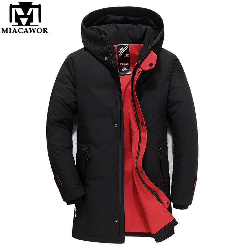 MIACAWOR New Thick Winter Down Jacket High Quality Warm Hooded White Duck Down Coat Men Casual Outerwear Plus Size J581