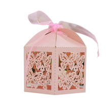 KAZIPA 50pcs Butterfly Love heart Gift Candy Cake Favor Boxes Decoration Box for Wedding Party Favor Pink