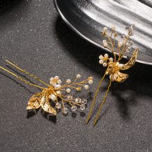 1 PCS Gold Flower Leaf U shape Hair Sticks Pearl Clip Vintage Hair Pins Wedding Accessories Crystal Bridal Head piece