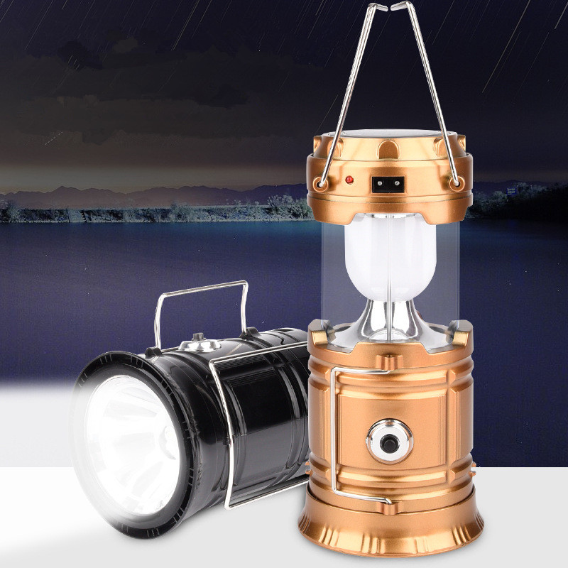 1X LED solar rechargeable camping lights Outdoor portable telescopic emergency lantern 110v 220v LED lamp lgiht like Power bank(China)