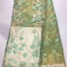 Latest African Laces Fabrics Embroidered African tulle French Lace Fabric With Beaded 2017 African French Net Lace Trim df66220(China)