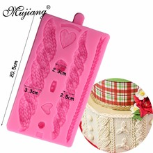 Mujiang 3D Knitting Texture Silicone Mold Christmas Cake Border Fondant Molds Cake Decorating Tools Chocolate Gumpaste Moulds(China)