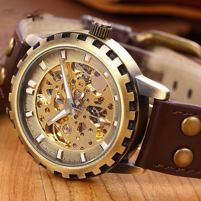 brand leather band men male military clock automatic Skeleton mechanical Watch self wind Vintage luxury Steampunk style watch<br><br>Aliexpress