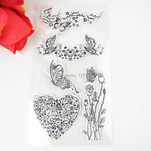 1PCS TPR silicon clear Stamp Rose flower vine bouquet butterfly Stamp  DIY Scrapbooking/Card Making/ Decoration Supplies