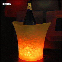 PREUP 5L Waterproof Plastic LED Wine Ice Bucket Color Changing LED Light Up Champagne Beer Bars Bucket Night Party(China)