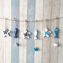 Mediterranean Starfish Hung Fish Nautical Decor hang small adorn Crafts Wood Fish/decorated marine pendant For Kid Room
