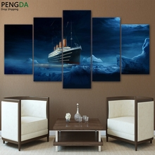HD Printed Modular Picture Wall Art Frame Canvas Poster 5 Panel Titanic Iceberg Movie Painting For Living Room Home Decor PENGDA