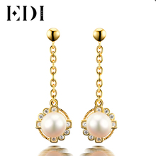 EDI Classic 18K Gold 925 Sterling Silver Wedding Drop Earrings Natural Freshwater Pearls Romantic Fine Jewelry for Women(China)