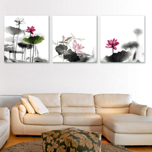 3pcs/set 50*150cm DIY Frameless Pictures Paint By Numbers Digital Oil Painting Dark Lotus On Canvas HD0316