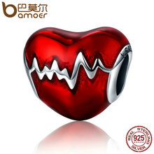 BAMOER New Arrival 100% 925 Sterling Silver Love Heart ECG & Red Enamel Beads fit Charm Bracelets for Women Jewelry Gift SCC249(China)