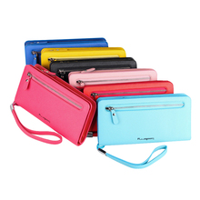 High Capacity Women Long Wallets Trifold Leather Wallet Female Zipper Clutch Coin Purse Ladies Card Holder with Wrist Strip