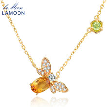 LAMOON Little Bee 14K Yellow Gold Pendant Necklace For Women Natural Citrine 925 Sterling Silver Fine Jewelry Bijoux NI015(China)