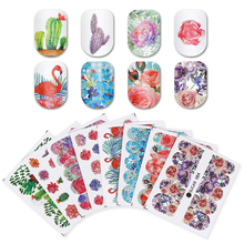 UR SUGAR 8 Sheets/set Flamingo Flower Cactus Nail Art Stickers Cat Fruits Nail Art Transfer Sticker Water Decals Nail Slider Tip