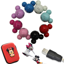 Portable Cartoon Mickey MP3 Music Player Mickey Mouse Mini MP3 support 8GB Micro SD TF Card+Mickey Earphone+Mini USB+Mickey bag(China)